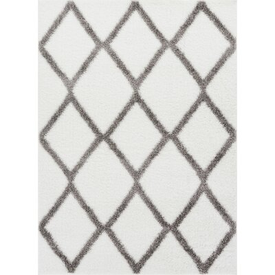 Puentes Shag White Area Rug Rug Size: Rectangle 67 x 93