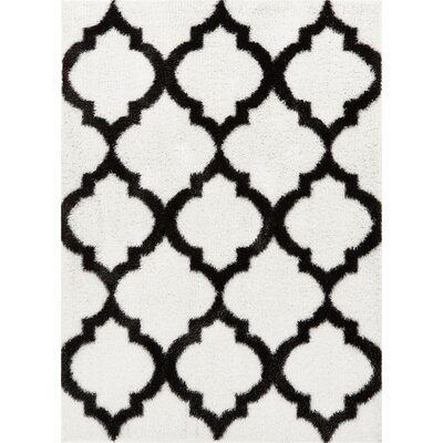 Aranson Humble Moroccan Lattice Shag White Area Rug Rug Size: Rectangle 33 x 5