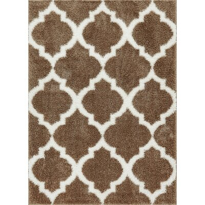 Aranson Humble Moroccan Lattice Shag Taupe Area Rug Rug Size: Rectangle 33 x 5