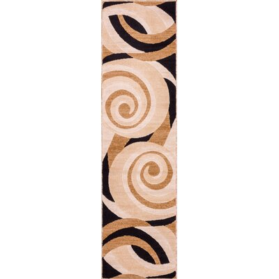 Dulcet Windy Brown Swirls Area Rug Rug Size: Runner 2' x 7'3