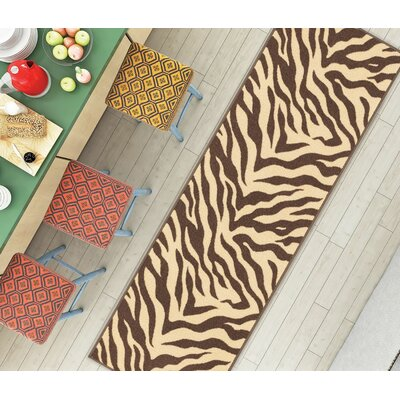 Kings Court Brown Zebra Animal Print Rug Rug Size: Runner 2 x 7