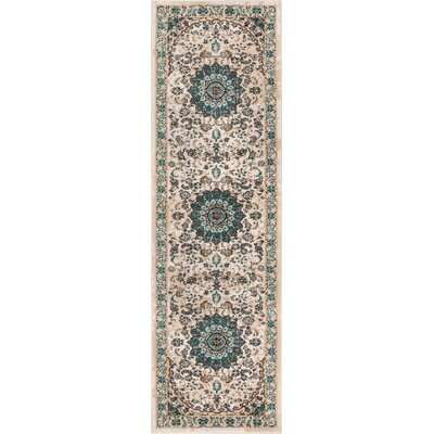 Luxury Vintage Look Beige Area Rug Rug Size: Runner 23 x 77