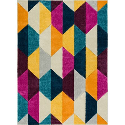 Herring Mid-Century Modern Polygon Shapes Cream Area Rug Rug Size: 53 x 73