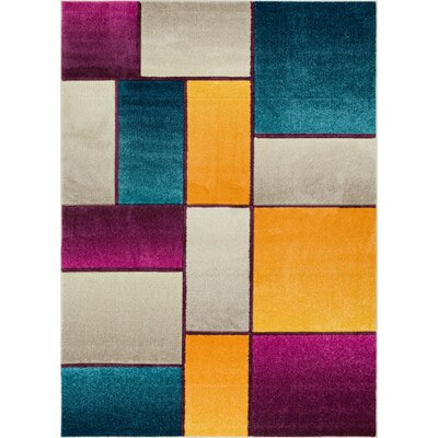 Herring Mid-Century Modern Cream Geometric Area Rug Rug Size: Rectangle 53 x 73