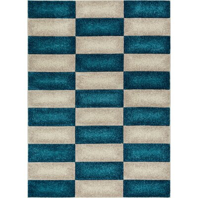 Herring Mid-Century Modern Geo Color Blocks Blue Area Rug Rug Size: 53 x 73