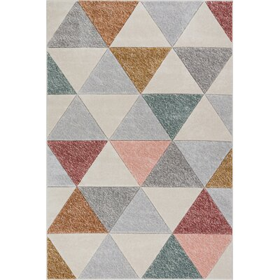Scheel Modern Triangle Shapes Cream Geometrix Area Rug Rug Size: Rectangle 2 x 3