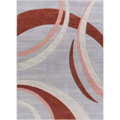 Herring Mid-Century Modern Gray Abstract Area Rug Rug Size: 710 x 910