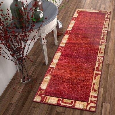 Atherton Modern Border Red Area Rug Rug Size: Runner 23 x 73