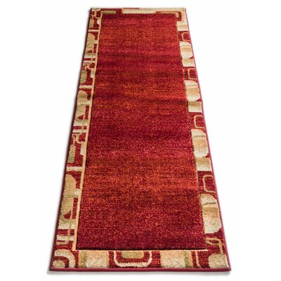 Atherton Modern Border Red Area Rug Rug Size: Runner 27 x 10