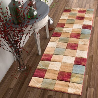 Atherton Modern Squares Beige/Red Area Rug Rug Size: Runner 23 x 73
