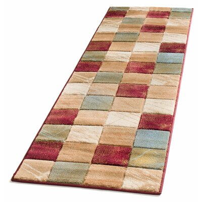 Atherton Modern Squares Beige/Red Area Rug Rug Size: Runner 27 x 10