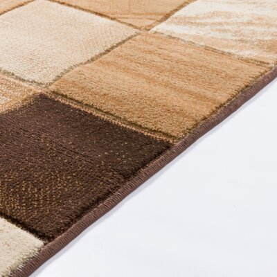 Atherton Modern Squares Brown Area Rug Rug Size: Runner 27 x 10
