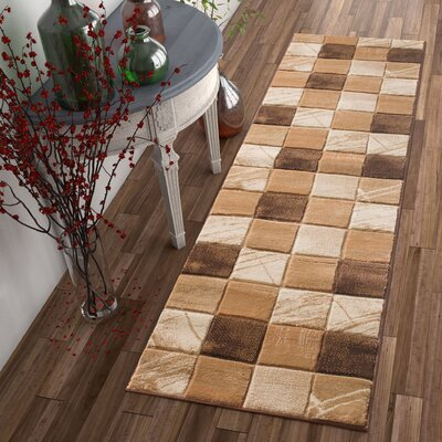 Atherton Modern Squares Brown Area Rug Rug Size: Runner 23 x 73