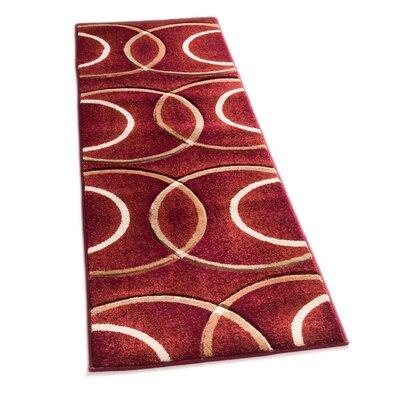 Bernard Chester Circles Modern Red Area Rug Rug Size: Runner 27 x 10