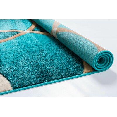 Bernard Chester Circles Modern Turquoise Area Rug Rug Size: Runner 23 x 73