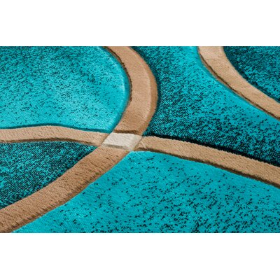 Bernard Chester Circles Modern Turquoise Area Rug Rug Size: Runner 2'7