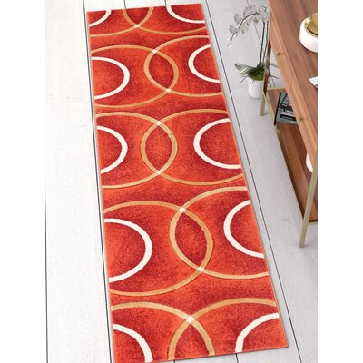 Bernard Chester Circles Modern Orange Area Rug Rug Size: Runner 27 x 10