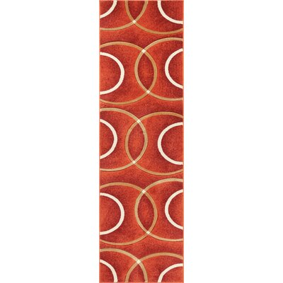 Bernard Chester Circles Modern Orange Area Rug Rug Size: Runner 23 x 73