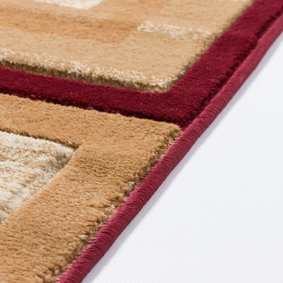 Atherton Modern Power Loom Squares Red Area Rug Rug Size: Runner 27 x 10