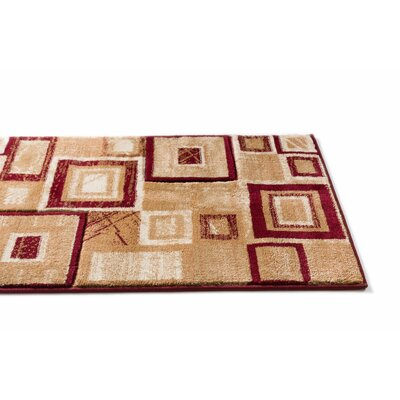 Atherton Modern Power Loom Squares Red Area Rug Rug Size: Runner 23 x 73