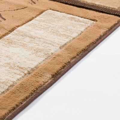 Atherton Modern Squares Brown Beige Area Rug Rug Size: Runner 27 x 10