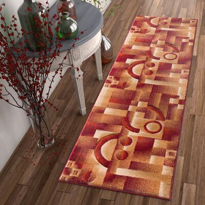 Atherton Modern Squares Red Area Rug Rug Size: Runner 23 x 73