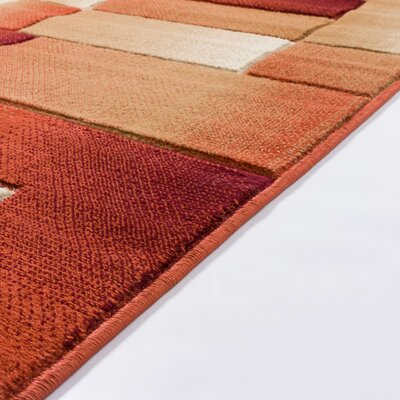 Atherton Modern Squares Orange Area Rug Rug Size: Runner 27 x 10