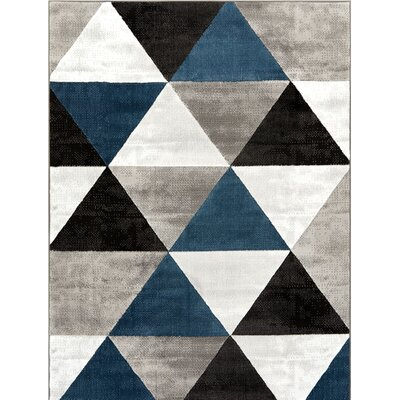 Ruark Mid-Century Modern Retro Shapes Blue/Gray Geometric Area Rug Rug Size: 710 x 910