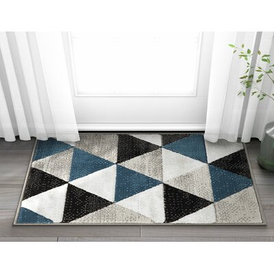 Ruark Mid-Century Modern Retro Shapes Blue/Gray Geometric Area Rug Rug Size: 27 x 311