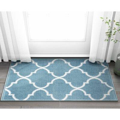 Ruark Modern Blue Geometric Trellis Area Rug Rug Size: 2'7'' x 3'11''