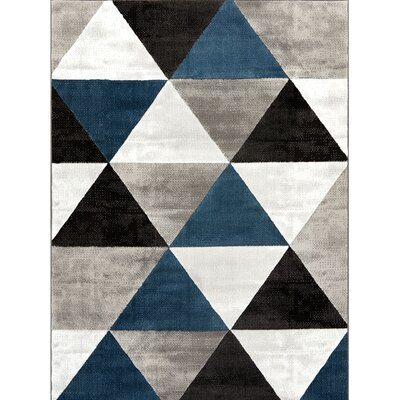 Ruark Mid-Century Modern Retro Shapes Blue/Gray Geometric Area Rug Rug Size: 93 x 126