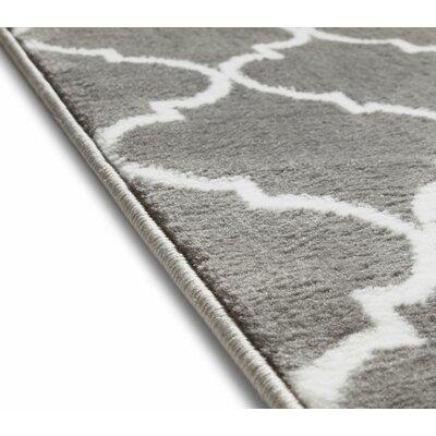 Ruark Modern Grey Geometric Trellis Area Rugs Rug Size: 93 x 126