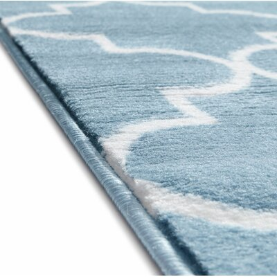 Ruark Modern Blue Geometric Trellis Area Rug Rug Size: 710 x 910