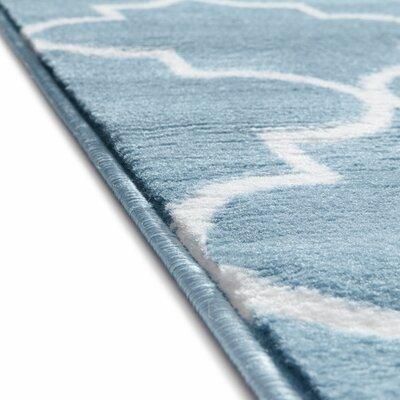 Ruark Modern Blue Geometric Trellis Area Rug Rug Size: 93 x 126