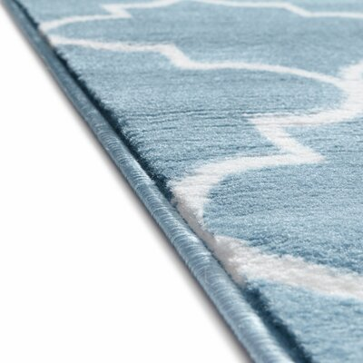 Ruark Modern Blue Geometric Trellis Area Rug Rug Size: 33 x 5