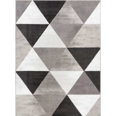 Ruark Mid-Century Modern Retro Shapes Gray Geometric Area Rug Rug Size: 5 x 72