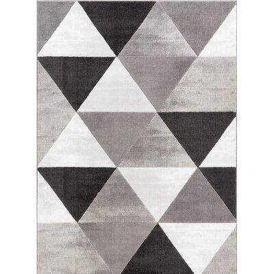 Ruark Mid-Century Modern Retro Shapes Gray Geometric Area Rug Rug Size: 93 x 126