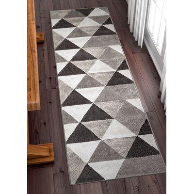 Ruark Mid-Century Modern Retro Shapes Gray Geometric Area Rug Rug Size: Runner 2 x 73