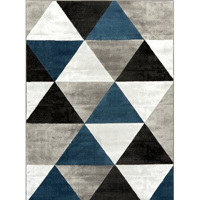 Ruark Mid-Century Modern Retro Shapes Blue/Gray Geometric Area Rug Rug Size: 5 x 72