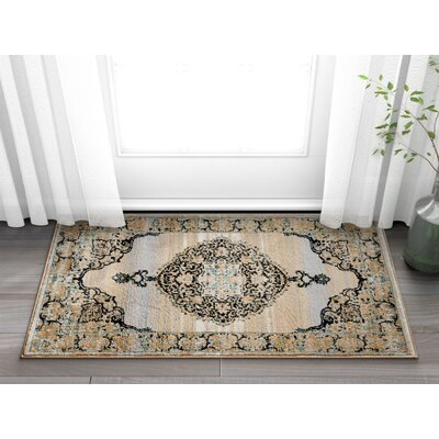 Coalgate Contemporary Blue Area Rug Rug Size: 53 x 73