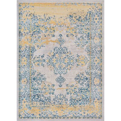 Juliana Cannes Medallion Ivory/Blue/Yellow Area Rug Rug Size: Rectangle 2 x 3