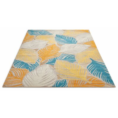 Newagen Amelia Tropical Leaves Blue/Yellow Area Rug Rug Size: Rectangle 2' x 3'