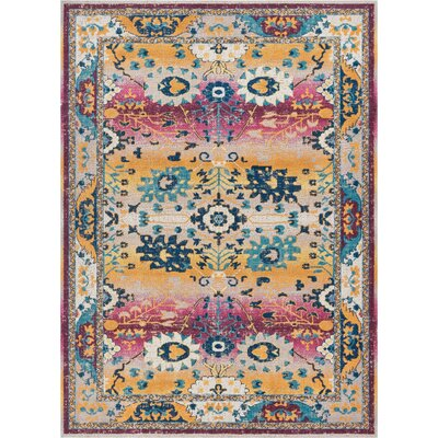Juliana Shera Passion Yellow/Blue/Cream Area Rug Rug Size: Rectangle 2 x 3