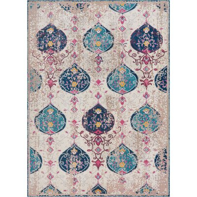 Juliana Peri Ogee Ikat Purple/Beige/Blue Area Rug Rug Size: Rectangle 2 x 3