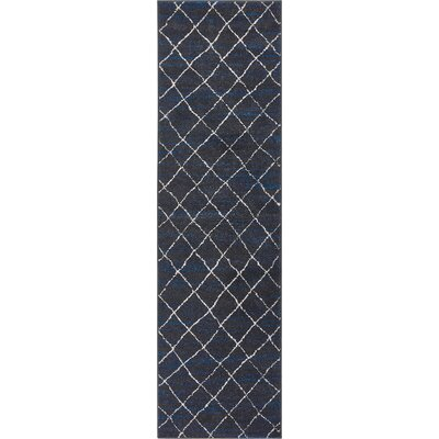 Vakte Modern Trellis Royal Blue/Gray Area Rug Rug Size: Runner 23 x 73
