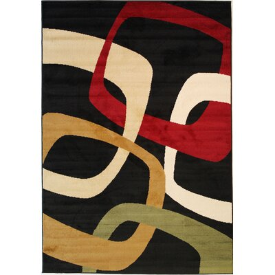 Dulcet Mario Rings Black Area Rug Rug Size: 27 x 311