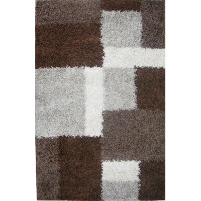 Madison Shag Beige & Brown Cubes Area Rug Rug Size: 33 x 53
