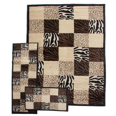 Well Woven 3 Piece Breathless Desire Animal Print Area Rug Set - Size: 6'7