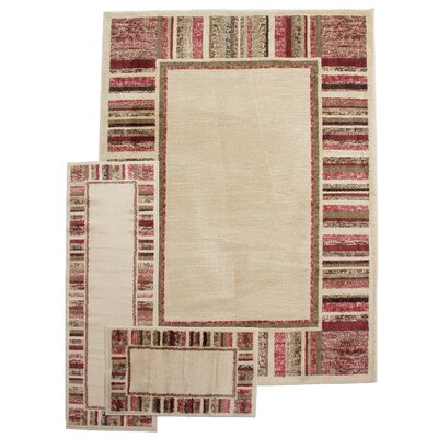 Well Woven 3 Piece Breathless Looking Forward Casual Area Rug Set - Size: 5' x 7' Rug Runner and Bath Mat