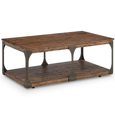 Aradhya Wood Coffee Table with Casters